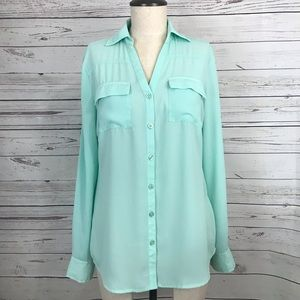 New York and Company Mint Button Down Shirt